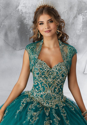 Emma on a Contrasting Beaded Embroidery Dress - MoriLee #89196