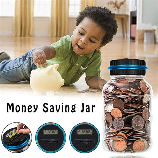 Electronic counting change coin piggy bank