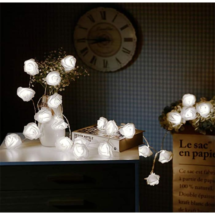 Led Rose Light String - White / 1.5M·10 Lights / 1Pc