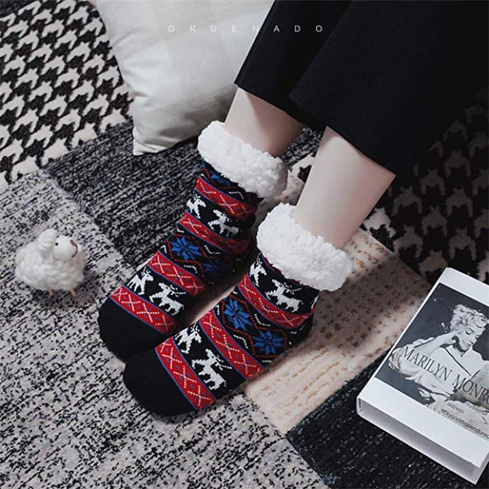 Thermal Fleece Winter Slipper Socks - Black / 1 Pair - Women