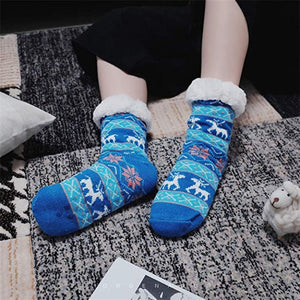 Thermal Fleece Winter Slipper Socks - Blue / 1 Pair - Women