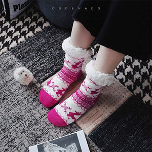 Thermal Fleece Winter Slipper Socks - Rose Red / 1 Pair - Women
