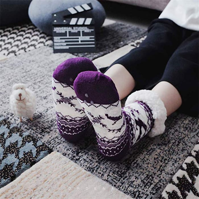 Thermal Fleece Winter Slipper Socks - Women