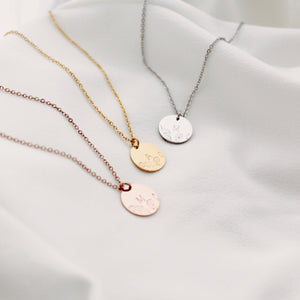 Floral + Initial Disc Necklace