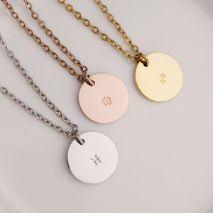 Zodiac Medium Disc Necklace