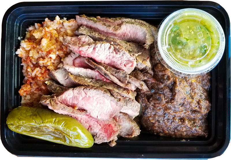 Carne Asada Plate with Mexican Rice and Frijoles Negro