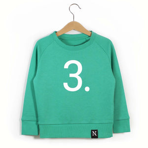 The Number 3 green sweatshirt front