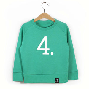 The Number 4 green sweatshirt front