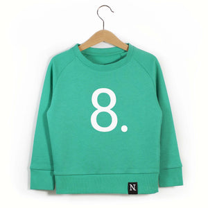 The Number 8 green sweatshirt front