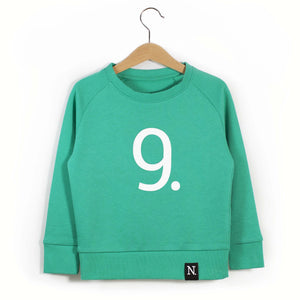 The Number 9 green sweatshirt front