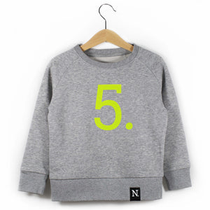 The Number 5 grey sweatshirt front