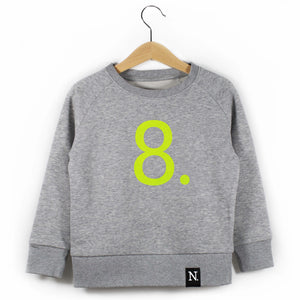 The Number 8 grey sweatshirt front