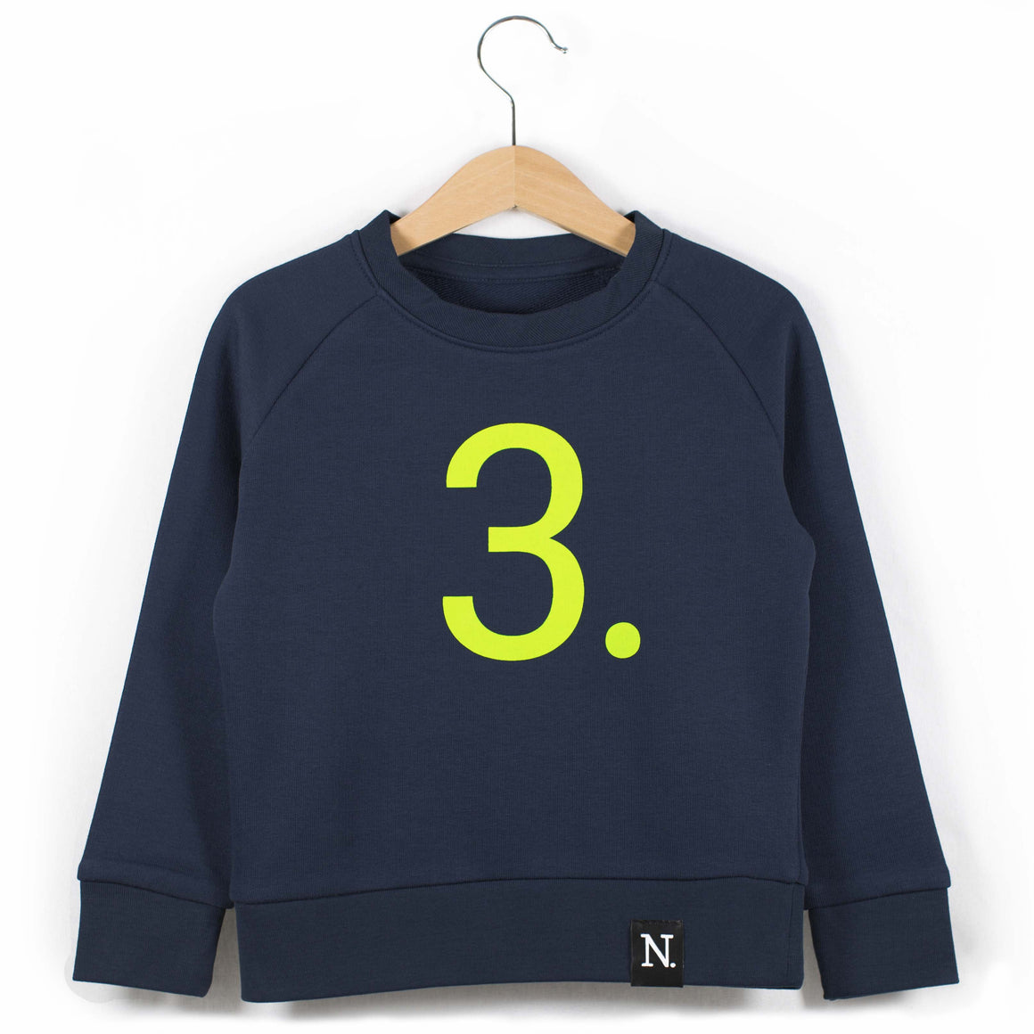 The Number 3 navy sweatshirt front