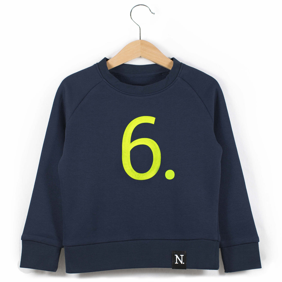 The Number 6 navy sweatshirt front