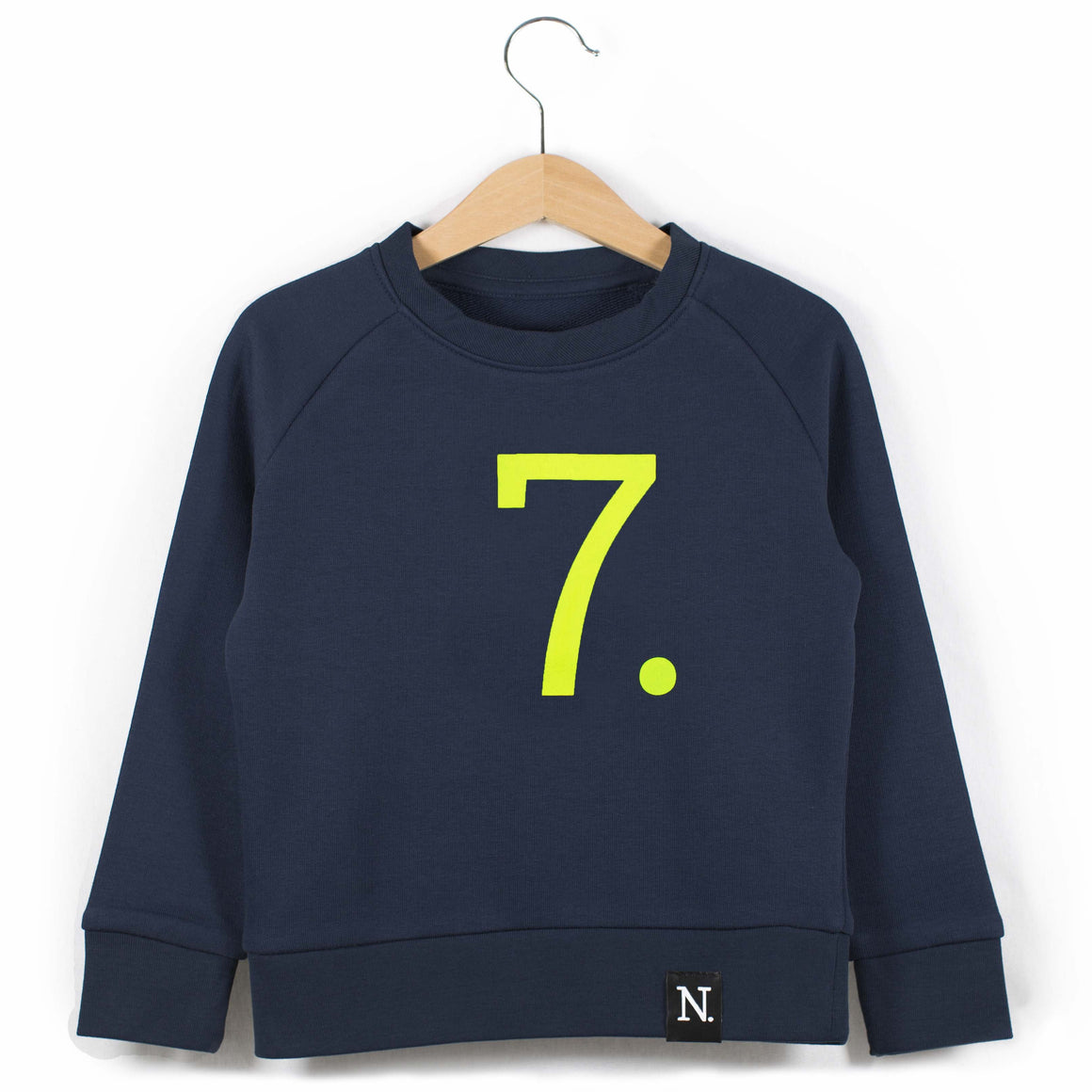 The Number 7 navy sweatshirt front