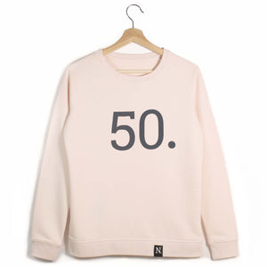 The Number 50 pink sweatshirt front