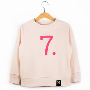 The Number 7 pink sweatshirt