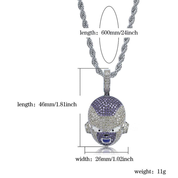 TOPGRILLZ Dragon Ball Character Frieza Pendant Necklace Iced Out Cubic Zircon Hip Hop Gold Silver Color Men Charms Chain Jewelry-Animerevolt