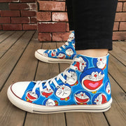 Hand Painted Athletic Sneakers Comic Doraemon Facial Expressions-Animerevolt