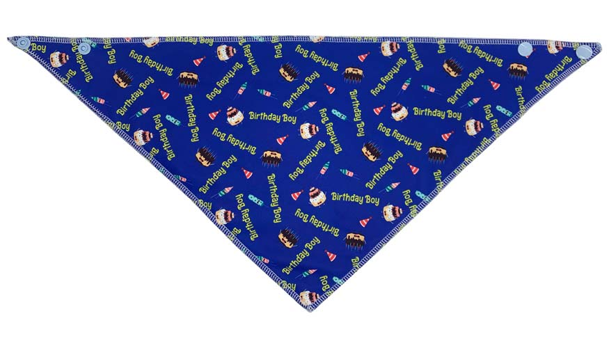 "First side of reversible birthday boys bandana. Dark blue with cakes and rockets and hats across it. Also has ""Birthday Boy"" text in yellow"