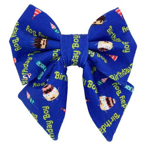 "boy dog bow tie for their birthday with ""Happy Birthday"" print exclusive to swanky paws. Also with cake and little rockets on top"