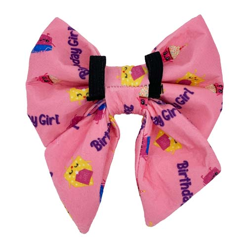 "Pink ""Birthday Girl"" Sailor Dog Bow Tie with yellow envelopes and pink cupcakes"
