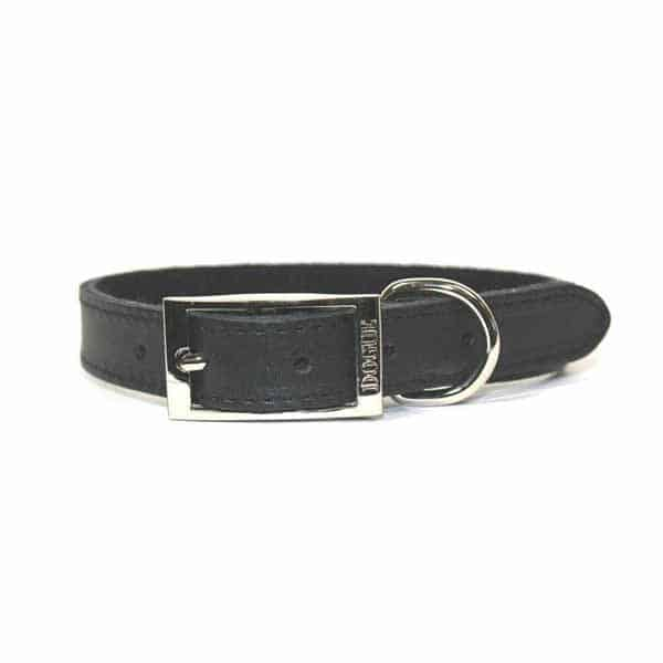 Black DOGUE Leather Collar Personalised