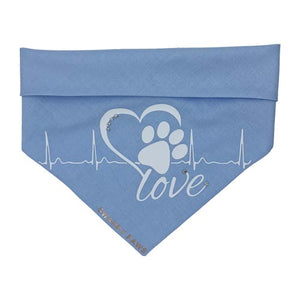 "Blue dog bandana thanking Nurses from Covid-19 work donating money to Beyond Blue. This side of the reversible design shows a paw print with heart beat and ""Love"" text"