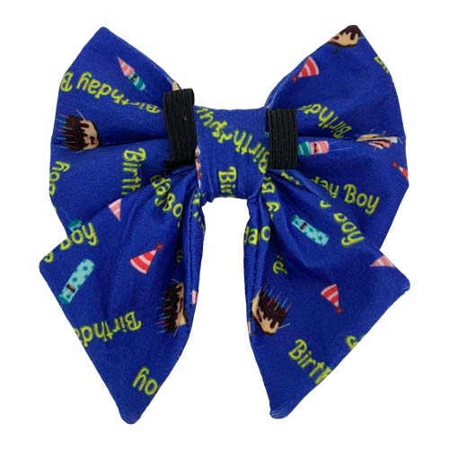 Birthday Boy Print for sailor bow tie. It has elastic at the back for pulling the collar through from Swanky Paws