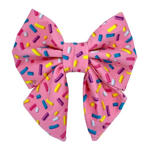 Fun Sprinkles Print Dog Sailor Bow Tie From Swanky Paws Australia Made in Pink