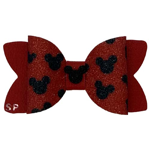 Dog Hair Bow Faux Leather Minni Mouse