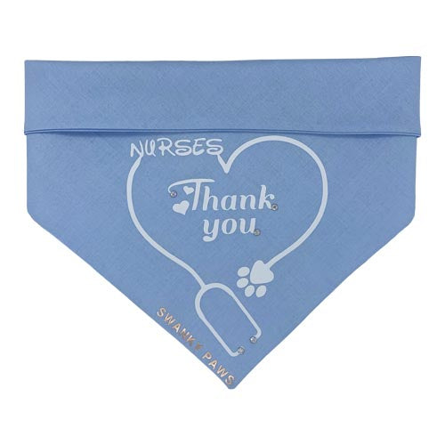 """Thank You"" text on a blue bandana with a paw print and love heart to say thankyou to nurses for work on COVID-19. Donations made to beyond blue"