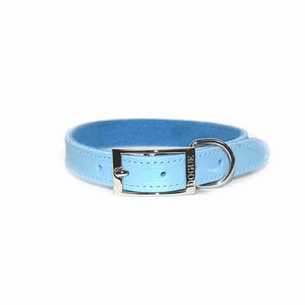 Pale Blue DOGUE Leather Dog Collar Personalised Swarovski Crystals