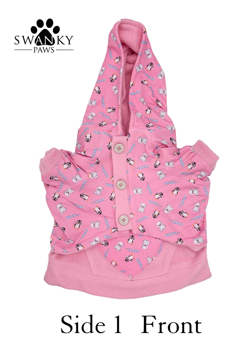 Swanky Paws Pink Reversible Dog Hoodie with a winter print and pink fleece. It has 3 buttons for fastening on either side and is completely reversible. Made by hand in Australia by Swanky Paws