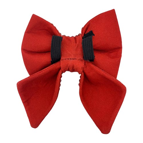 back side of the red swarovski crystal sailor dog bow from Swanky Paws in Australia.It includes 2 elastic loops to pull the collar through