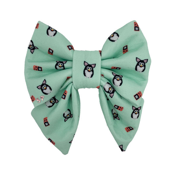 super cute green furby fabric print design also including little orange game boys. Dog sailor bow made for all size dogs
