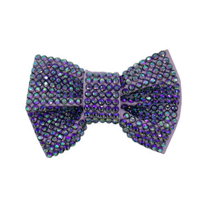 Lilac coloured dog bow tie from Swanky Paws completely covered in swarovkski crystals for bling