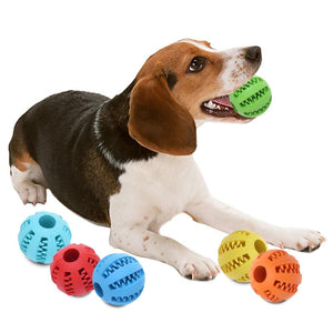INTERACTIVE RUBBER BALL DOG CHEW TOY