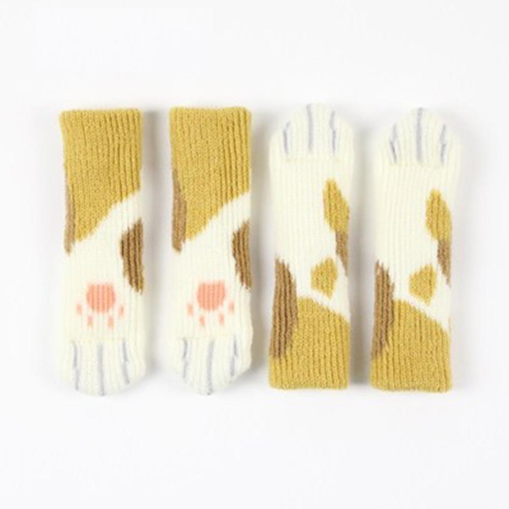4 Pcs/Set Knit Flower Floor Protector Leg Sleeve Table Chair Foot Cover Socks