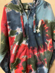 Stay Hella Positive Tie Dye Zip-Up Hoodie - Large