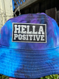 Hella Positive Tie Dye Bucket Hat with Glow in the Dark Camo print patch - Large