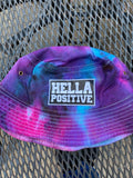 Hella Positive Tie Dye Bucket Hat with Glow in the Dark Camo print patch (Large/XL)