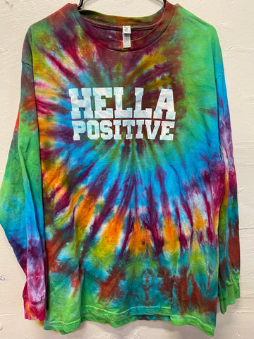 Hella Positive Tie Dye Long Sleeve - Large