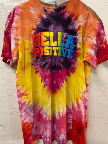 Hella Positive Tie Dye T-Shirt - Large