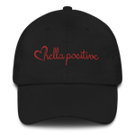 Love Hella Positive Dad Hat Black and Red