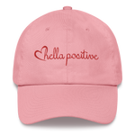 Love Hella Positive Dad Hat Pink and Red