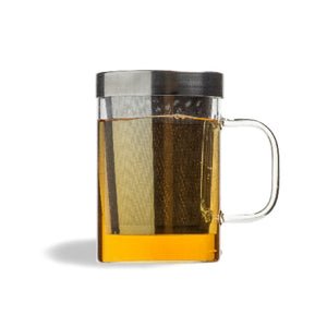 TRANSPARENT GLASS TEA MUG WITH INFUSER - Mayukh