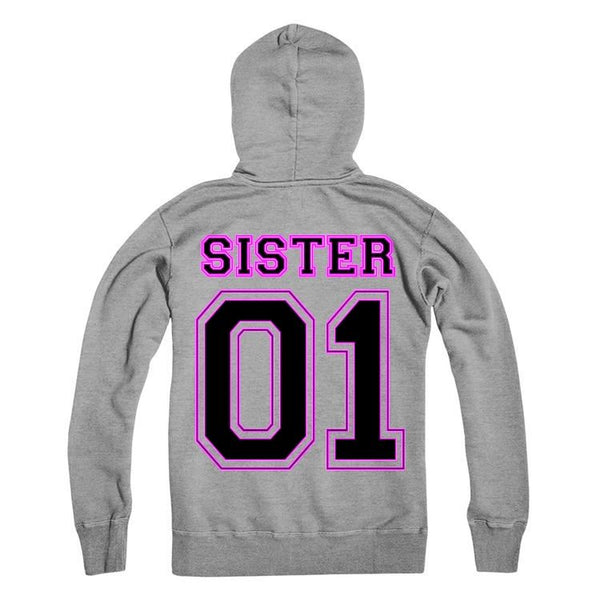 SISTER Personalised Number Hoodie Kids And Adults