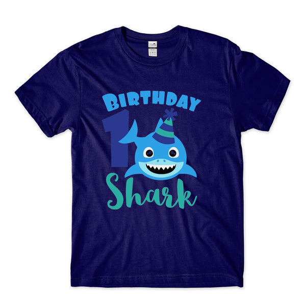 Personalised Number Baby Shark Birthday Tshirt Kids