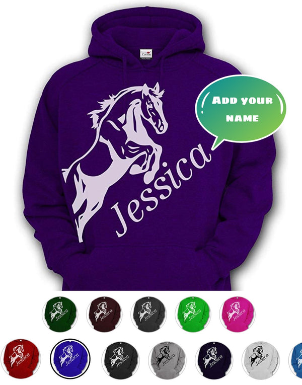 Personalised Horse Riding Hoodie Kids and Adults - pure-cotton-shop